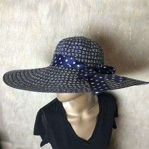 Accessories - Navy Blue Straw Summer Hat With Ribbon Details NWT 9799a038277f